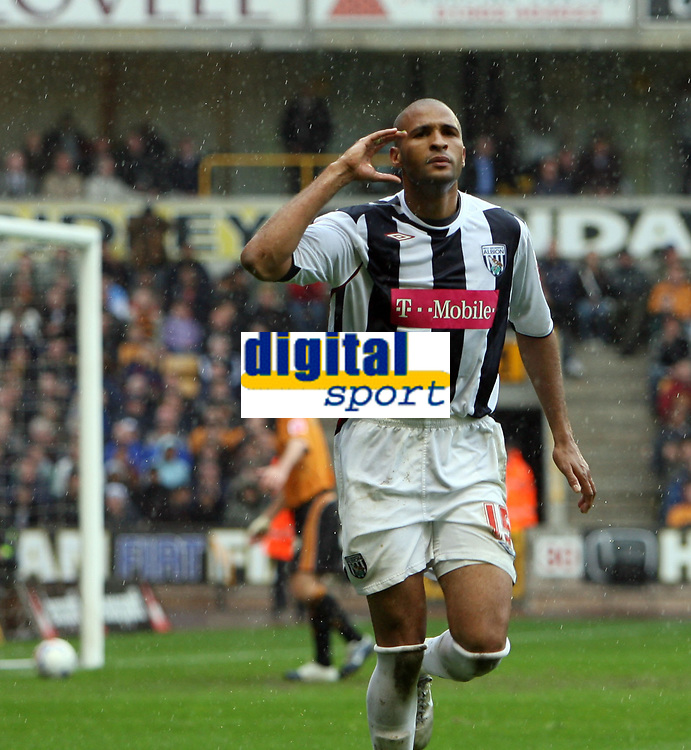 Photo: Rich Eaton.<br /> <br /> Wolverhampton Wanderers v West Bromwich Albion. Coca Cola Championship. Play off Semi Final, 1st Leg. 13/05/2007. West Broms Diomansy scores in the second half to make it 3-2 to West Brom and celebrates