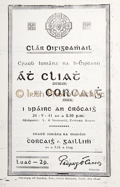All Ireland Senior Hurling Championship Final,.Brochures,.28.09.1941, 09.28.1941, 28th September 1941, .Cork 5-11, Dublin 0-6, .Minor Cork v Galway, .Senior Dublin v Cork, .Croke Park, 28091941AISHCF,..