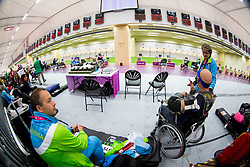 Ales Kosmac, Franc Pinter and Polonca Sladic of Slovenia during the Men's R5-10m Air Rifle Prone Cat. 1 shooting Qualifications during Day 4 of the Summer Paralympic Games London 2012 on September 1, 2012, in Royal Artillery Barracks, London, Great Britain. (Photo by Vid Ponikvar / Sportida.com)