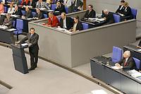 13 SEP 2002, BERLIN/GERMANY:<br /> Gerhard Schroeder, SPD, Bundeskanzler, waehrend seiner Rede, Haushaltsdebatte fuer den Bundeshaushalt 2003, ganz rechts: Edmund Stoiber, CSU, Ministerpraesident Bayern und CDU/CSU kanzlerkandidat, Plenum, Deutscher Bundestag<br /> IMAGE: 20020913-01-006<br /> KEYWORDS: Gerhard Schröder, speech, Ministerpraesident,