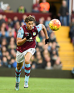 Rudy Gestede of Aston Villa in action. Barclays Premier league match, Aston Villa v Swansea city at Villa Park in Birmingham, the Midlands on Saturday 24th October 2015.<br /> pic by  Andrew Orchard, Andrew Orchard sports photography.