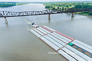 63807-01218 Barge on the Mississippi river and train crossing the Thebes bridge near Thebes, IL