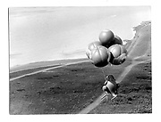 Flying Kangeroo with David Kirke in Pouch. Beachy Head.© Copyright Photograph by Dafydd Jones 66 Stockwell Park Rd. London SW9 0DA Tel 020 7733 0108 www.dafjones.com