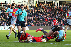 Dean Hammond of Worcester Warriors scores a try - Mandatory by-line: Robbie Stephenson/JMP - 12/11/2017 - RUGBY - Twickenham Stoop - London, England - Harlequins v Worcester Warriors - Anglo-Welsh Cup