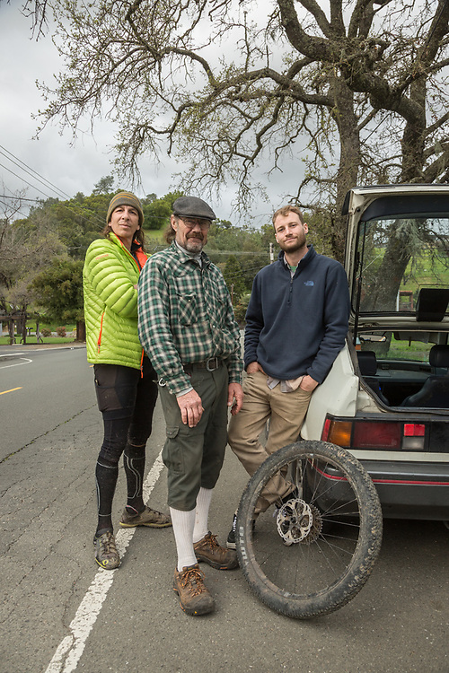 """Limo driver Marcus Rostad, pilot Trey Sheehe and Contractor Eric Striedieck discuss the finer points of mountain biking in Calistoga.  """"The harder we work the more freedom we find."""""""