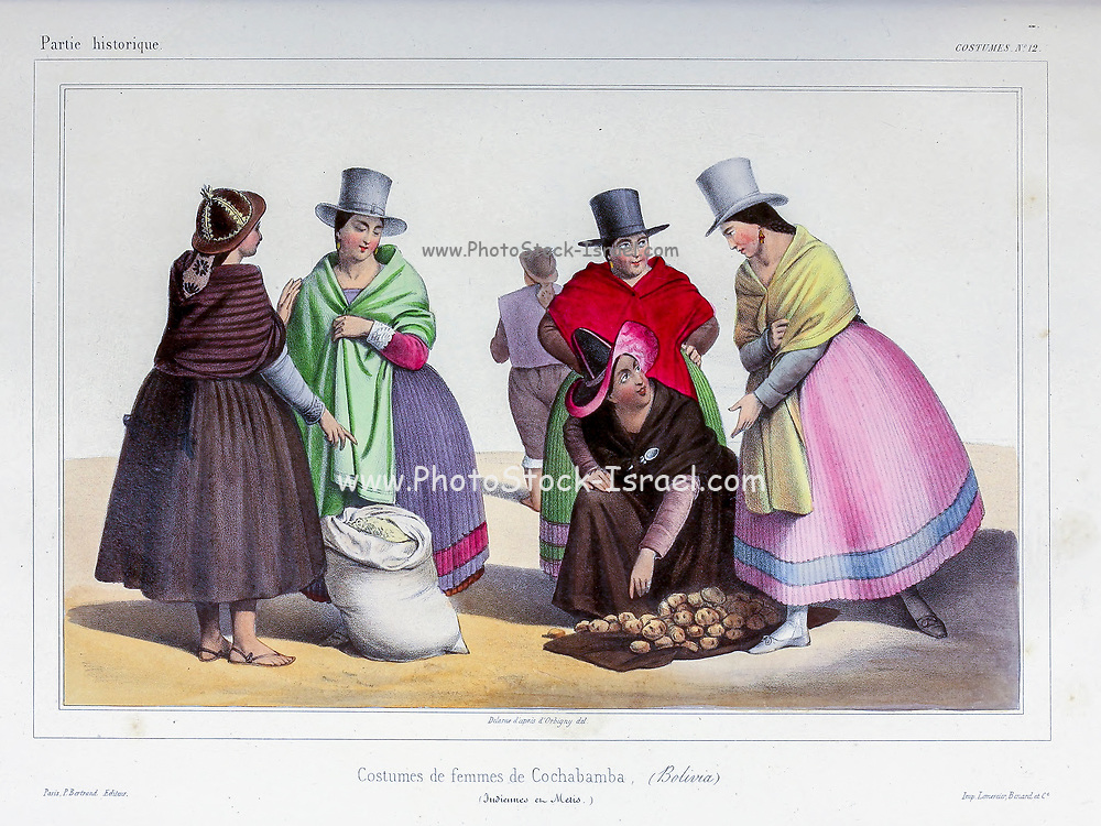 Traditional costumes of Cochabamba women Hand sketched From the book 'Voyage dans l'Amérique Méridionale' [Journey to South America: (Brazil, the eastern republic of Uruguay, the Argentine Republic, Patagonia, the republic of Chile, the republic of Bolivia, the republic of Peru), executed during the years 1826 - 1833] 3rd volume By: Orbigny, Alcide Dessalines d', d'Orbigny, 1802-1857; Montagne, Jean François Camille, 1784-1866; Martius, Karl Friedrich Philipp von, 1794-1868 Published Paris :Chez Pitois-Levrault et c.e ... ;1835-1847