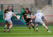 Northampton Saints lock Alex Moon drives into Sale defence during a Gallagher Premiership Round 13 Rugby Union match, Saturday, Mar. 13, 2021, in Northampton, United Kingdom. (Steve Flynn/Image of Sport)