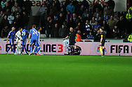 Chelsea's Eden Hazard (out of picture ) is sent off after incident with Swansea  city ballboy (on ground). Capital one cup semi final, 2nd leg, Swansea city v Chelsea at the Liberty Stadium in Swansea on Wednesday 23rd Jan 2013. pic by Andrew Orchard, Andrew Orchard sports photography,