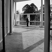 La Plata, Argentina, 1987: View of the terraze first floor, Currutchet house (1949) at Av. 53-320 - La Plata - Le Corbusier arch - . Photographs by Alejandro Sala, (Historical archive AS)