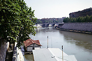 View towards Ponte Cavour,  River Tiber, Rome, Italy in 1974
