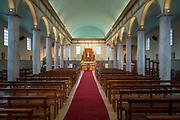 Interior of Dalcahue Church on Chiloe Island, Chile