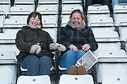 Fans see the funny side of their 259 mile trip before the Sky Bet League 2 match between Morecambe and AFC Wimbledon at the Globe Arena, Morecambe, England on 31 January 2015. Photo by Stuart Butcher.