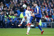 Callum Paterson of Cardiff city ® challenges Harlee Deen of Birmingham city (l).   EFL Skybet championship match, Cardiff city v Birmingham City at the Cardiff city stadium in Cardiff, South Wales on Saturday 10th March 2018.<br /> pic by Andrew Orchard, Andrew Orchard sports photography.