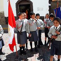 South America, Peru, Cusco. Uniformed school girls on the street in Cusco.
