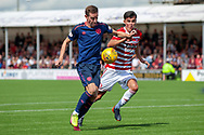 Steven MacLean of Heart of Midlothian holds off Shaun Want of Hamilton Academical FC during the Ladbrokes Scottish Premiership League match between Hamilton Academical FC and Heart of Midlothian FC at New Douglas Park, Hamilton, Scotland on 4 August 2018. Picture by Malcolm Mackenzie.