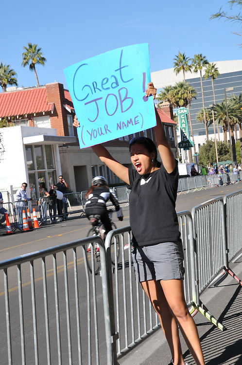 """Great job!"" sign salutes El Tour de Tucson 2014 finishers. Bike-tography by Martha Retallick."