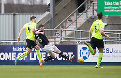 Falkirk's Bob McHugh misses a chance. Falkirk 1 v 2 Hibernian, Scottish Championship game played 31/12/2016 at The Falkirk Stadium .