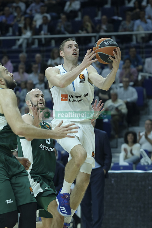 April 25, 2018 - Madrid, Madrid, Spain - FABIEN CAUSEUR  of Real Madrid during the Turkish Airlines Euroleague play-off quarter final series third match between Real Madrid and Panathinaikos Superfoods at the Wizink Center in Madrid, Spain on April 25, 2018  (Credit Image: © Oscar Gonzalez/NurPhoto via ZUMA Press)