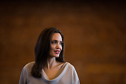 UNHCR Special Envoy Angelina Jolie stands to leave after giving the keynote address to delegates at the 2017 United Nations Peacekeeping Defence Ministerial conference in Vancouver, BC, Canada, on Wednesday November 15, 2017. Photo by Darryl Dyck/CP/ABACAPRESS.COM