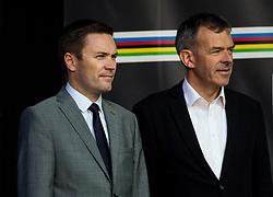 David Lappartient, president of UCI and Georg Willi, mayor of Innsbruck during the Women's Elite Road Race a 156.2km race from Kufstein to Innsbruck 582m at the 91st UCI Road World Championships 2018 / RR / RWC / on September 29, 2018 in Innsbruck, Austria.  Photo by Vid Ponikvar / Sportida