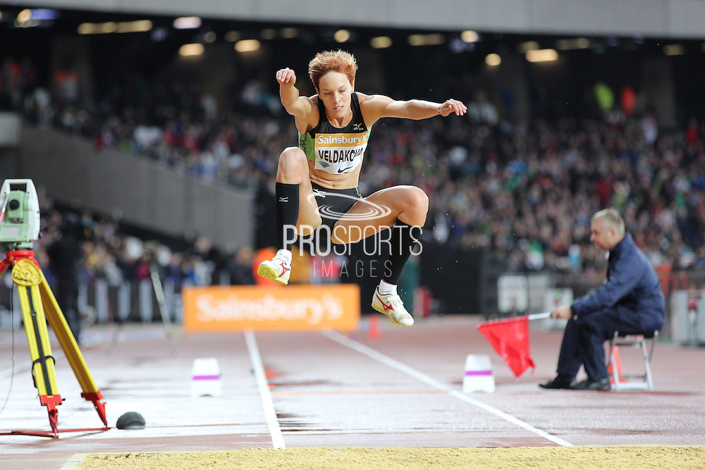 Dana Veldakova of Slovakia in the Woman Triple Jump during the Sainsbury's Anniversary Games at the Queen Elizabeth II Olympic Park, London, United Kingdom on 24 July 2015. Photo by Phil Duncan.
