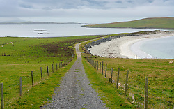 Track leading to Burra Minn beach at Papil, West Burra Island, Shetland, Scotland, UK