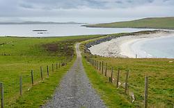 Track leading to Burra Minn beach at Papil, West Burra Island, Shetland, Scotland, UK