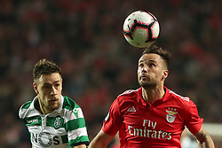 February 6, 2019 - Lisbon, Portugal - Benfica's Suisse forward Haris Seferovic (R ) vies with Sporting's defender Sebastian Coates from Uruguay during the Portugal Cup Semifinal first leg football match SL Benfica vs Sporting CP at Luz stadium in Lisbon, on February 6, 2019. (Credit Image: © Pedro Fiuza/ZUMA Wire)