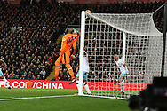 West Ham United Goalkeeper Darren Randolph watches as the ball bounces off the crossbar. Premier League match, Liverpool v West Ham Utd at the Anfield stadium in Liverpool, Merseyside on Sunday 11th December 2016.<br /> pic by Chris Stading, Andrew Orchard sports photography.