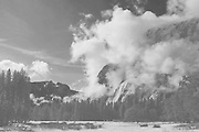Yosemite Valley Emerging From Sierra Mist, Yosemite National Park, California Mountains, Sierra Nevada, Open Sky, Granite Peak, Pine Forest