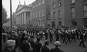 State Funeral Of Mrs Thomas Clarke..1972..08.10.1972..10.08.1972..8th October 1972..Today the state funeral of Mrs Kathleen Clarke took place at the Pro Cathedral,Dublin. Mrs Clarke was the wife of the late Thomas Clarke who was executed in Kilmainham Jail in 1916. Thomas Clarke was a signatory of the Irish Proclamation of 1916..Image taken as the band leads the cortege away from Pro Cathedral on its way to the internment at Glasnevin Cemetery. view,