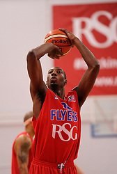 Tyrone Lee of Bristol Flyers takes a free throw - Photo mandatory by-line: Paul Knight/JMP - Mobile: 07966 386802 - 10/10/2015 - BASKETBALL - SGS Wise Arena - Bristol, England - Bristol Flyers v Newcastle Eagles - British Basketball League