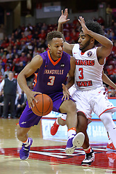 29 December 2016:  Keyshawn Evans(3) picks up Jaylon Brown in the lane during an NCAA  MVC (Missouri Valley conference) mens basketball game between the Evansville Purple Aces the Illinois State Redbirds in  Redbird Arena, Normal IL