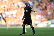 Referee Bobby Madley in action. Skybet football league Championship play off final match, Hull city v Sheffield Wednesday at Wembley Stadium in London on Saturday 28th May 2016.<br /> pic by John Patrick Fletcher, Andrew Orchard sports photography.