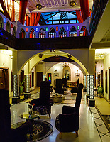 MARRAKESH, MOROCCO - CIRCA APRIL 2018: Interior of the hotel Art Place overlooking the Jemaa el-Fnaa square in Marrakesh