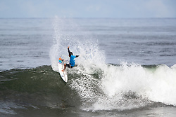 Peterson Crisanto of Brazil advances to round 4 after placing first in round 3 heat 5 of the 2018 Hawaiian Pro at Haleiwa, Oahu, Hawaii, USA.