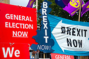 Pro and remain banners  outside  the Houses of Parliament on 9th September 2019 in London, United Kingdom. Prime Minister Boris Johnson is tabling another motion to seek a general election.