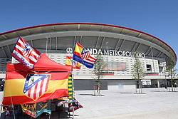 May 3, 2018 - Madrid, Spain - Stall sells flags and scarves nearby the stadium ahead of the UEFA Europa League, semi final, 2nd leg football match between Atletico de Madrid and Arsenal FC on May 3, 2018 at Metropolitano stadium in Madrid, Spain (Credit Image: © Manuel Blondeau via ZUMA Wire)