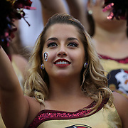 A FSU cheerleader is seen during an NCAA football game between the Ole Miss Rebels and the Florida State Seminoles at Camping World Stadium on September 5, 2016 in Orlando, Florida. (Alex Menendez via AP)