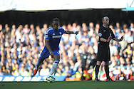 Didier Drogba of Chelsea takes a free kick. Barclays Premier league match, Chelsea v Manchester Utd at Stamford Bridge Stadium in London on Saturday 18th April 2015.<br /> pic by John Patrick Fletcher, Andrew Orchard sports photography.