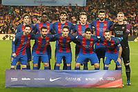 FC Barcelona's team photo with Sergi Roberto, Samuel Umtiti, Andre Gomes, Ivan Rakitic, Gerard Pique, Jasper Cillessen, Leo Messi, Arda Turan, Denis Suarez, Luis Suarez and Jordi Alba during Spanish Kings Cup semifinal 2nd leg match. February 07,2017. (ALTERPHOTOS/Acero)