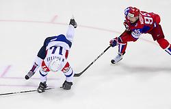 Matej Hocevar of Slovenia vs Alexei Morozov of Russia during ice-hockey match between Russia and Slovenia of Group A of IIHF 2011 World Championship Slovakia, on May 1, 2011 in Orange Arena, Bratislava, Slovakia. (Photo By Vid Ponikvar / Sportida.com)