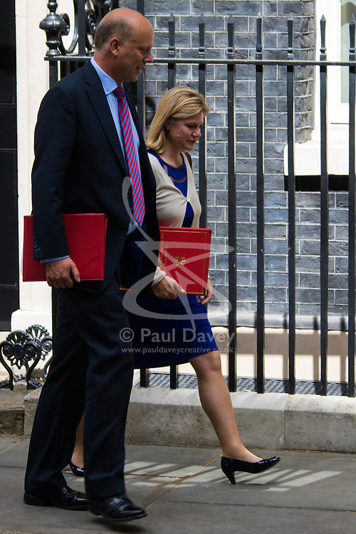 Downing Street, London, May 12th 2015. The all-conservatives Cabinet ministers gather for their first official meeting at Downing Street. PICTURED: Leader of the House of Commons Chris Grayling and Secretary of State for International Development Justine Greening