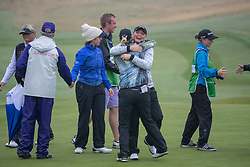 Sweden's team of Cajsa Parsson and Linda Wessberg celebrate in their semi final match with Great Britain this morning during day eleven of the 2018 European Championships at Gleneagles PGA Centenary Course. PRESS ASSOCIATION Photo. Picture date: Sunday August 12, 2018. See PA story GOLF European. Photo credit should read: Kenny Smith/PA Wire. RESTRICTIONS: Editorial use only, no commercial use without prior permission