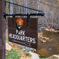 Thurmont, MD / USA - April 26, 2015:  The Park Headquarters Directional Sign at the Catoctin Mountain Park near Thurmont, Maryland. The Park is managed by the National Park Service.