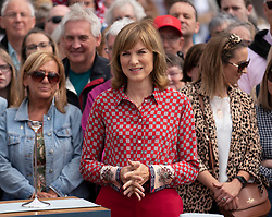 Dundee, Scotland, UK. 23 June 2019. The BBC Antiques Roadshow TV programme is aiming on location t the new V&A Museum in Dundee today. Long queues formed as members of the public arrived with their collectables to have them appraised and valued by the Antiques Roadshow experts. Select items and their owners were chosen to be filmed for the show.Pictured, Presenter Fiona Bruce