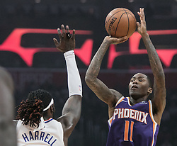November 28, 2018 - Los Angeles, California, U.S - Jamal Crawford #11 of the Phoenix Suns takes a jump shot during their NBA game with the Los Angeles Clippers  on Wednesday November 28, 2018 at the Staples Center in Los Angeles, California. Clippers vs Suns. (Credit Image: © Prensa Internacional via ZUMA Wire)