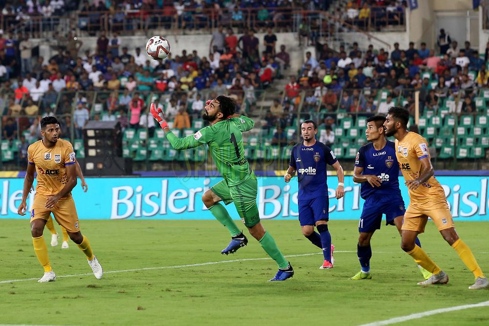 Amrinder Ranjit Singh Goalkeeper of Mumbai City FC saves a goal during match 27 of the Hero Indian Super League 2018 ( ISL ) between Chennaiyin FC  and Mumbai City FC  held at the Jawaharlal Nehru Stadium, Chennai, India on the 3rd November 2018<br /> <br /> Photo by: Faheem Hussain /SPORTZPICS for ISL