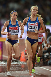August 11, 2017 - London, England, United Kingdom - Emma Coburn  of USA Courtney Frerichs, of USA competing in the 3000 meter steeple chase final in London at the 2017 IAAF World Championships athletics at the London Stadium in London on August 11, 2017. (Credit Image: © Ulrik Pedersen/NurPhoto via ZUMA Press)