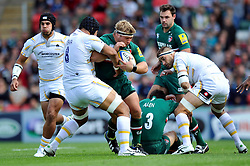 Leicester Tigers hooker Tom Youngs is tackled in possession - Photo mandatory by-line: Patrick Khachfe/JMP - Tel: Mobile: 07966 386802 - 08/09/2013 - SPORT - RUGBY UNION - Welford Road Stadium - Leicester Tigers v Worcester Warriors - Aviva Premiership.